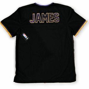 NBA Shirts - LeBron James Lakers v Neck Mesh warm up jersey New